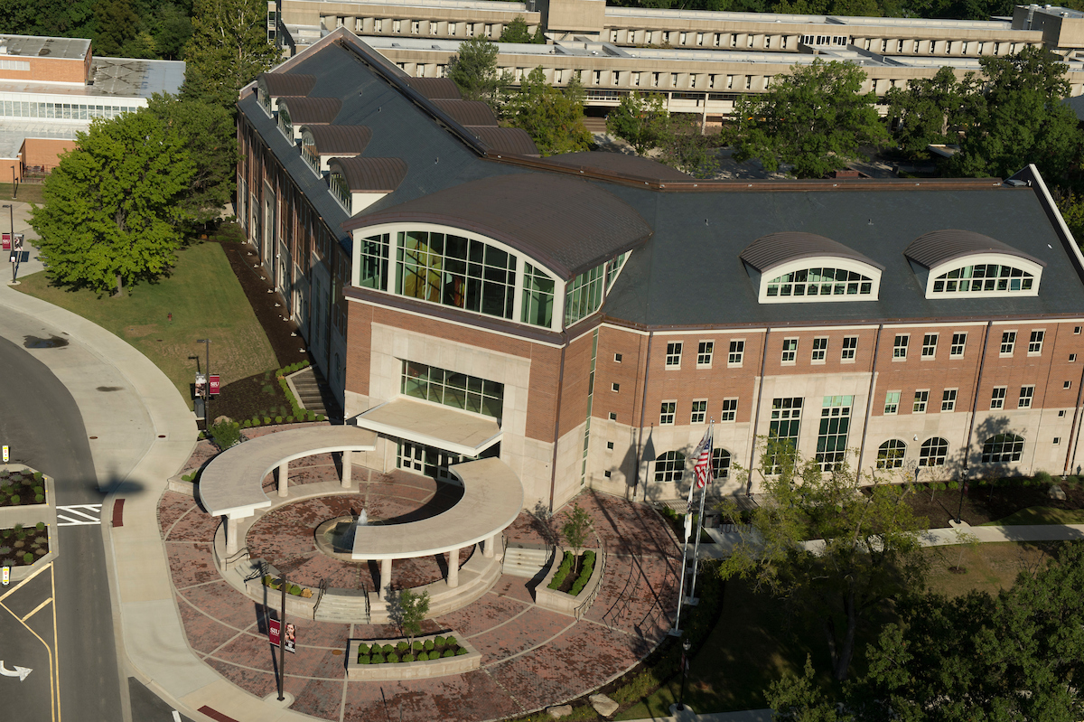 Aerial shot of Student Services Building