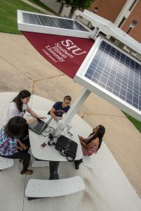 Solar Charging Station located near the west end of Morris Library.