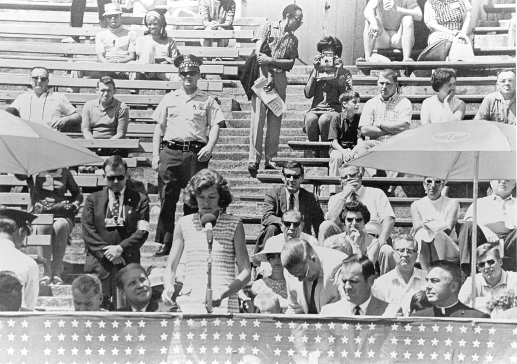 Eunice Kennedy Shriver giving a speech at 1968 Special Olympics